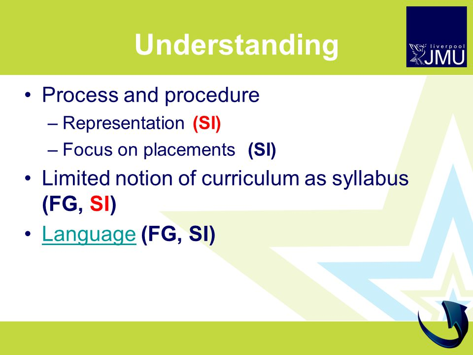 Understanding Process and procedure –Representation (SI) –Focus on placements (SI) Limited notion of curriculum as syllabus (FG, SI) Language (FG, SI)Language