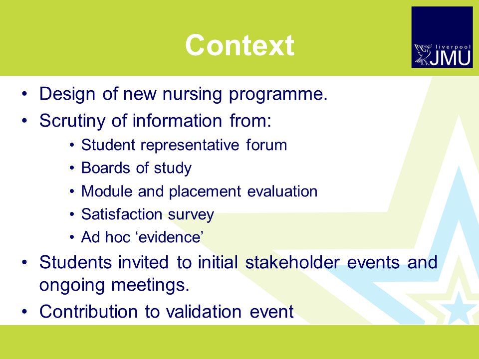 Context Design of new nursing programme.