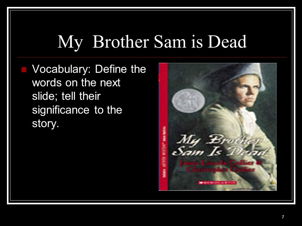 7 My Brother Sam is Dead Vocabulary: Define the words on the next slide; tell their significance to the story.