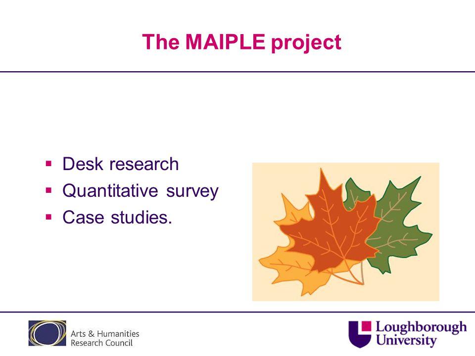 The MAIPLE project  Desk research  Quantitative survey  Case studies.