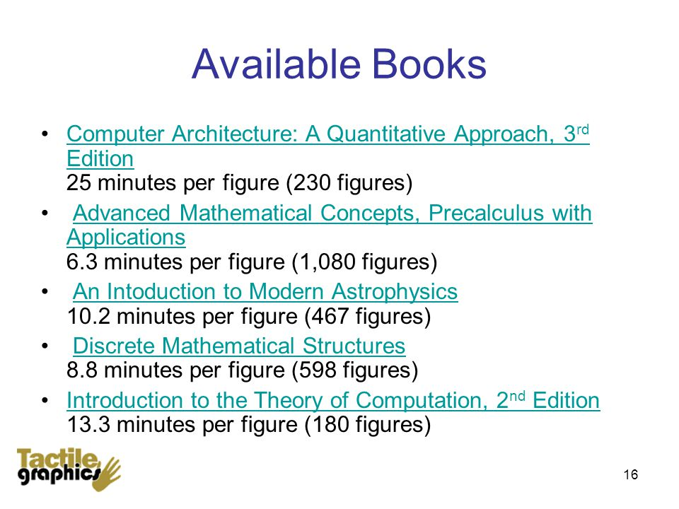 16 Available Books Computer Architecture: A Quantitative Approach, 3 rd Edition 25 minutes per figure (230 figures)Computer Architecture: A Quantitative Approach, 3 rd Edition Advanced Mathematical Concepts, Precalculus with Applications 6.3 minutes per figure (1,080 figures)Advanced Mathematical Concepts, Precalculus with Applications An Intoduction to Modern Astrophysics 10.2 minutes per figure (467 figures)An Intoduction to Modern Astrophysics Discrete Mathematical Structures 8.8 minutes per figure (598 figures)Discrete Mathematical Structures Introduction to the Theory of Computation, 2 nd Edition 13.3 minutes per figure (180 figures)Introduction to the Theory of Computation, 2 nd Edition