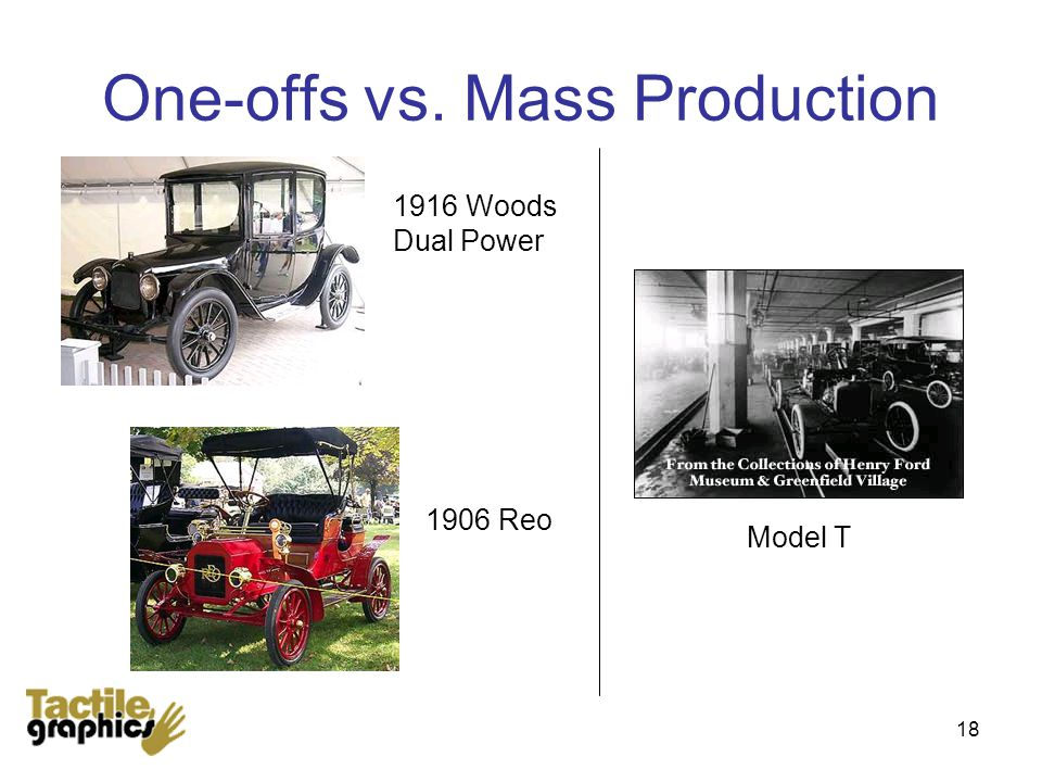18 One-offs vs. Mass Production 1916 Woods Dual Power Model T 1906 Reo