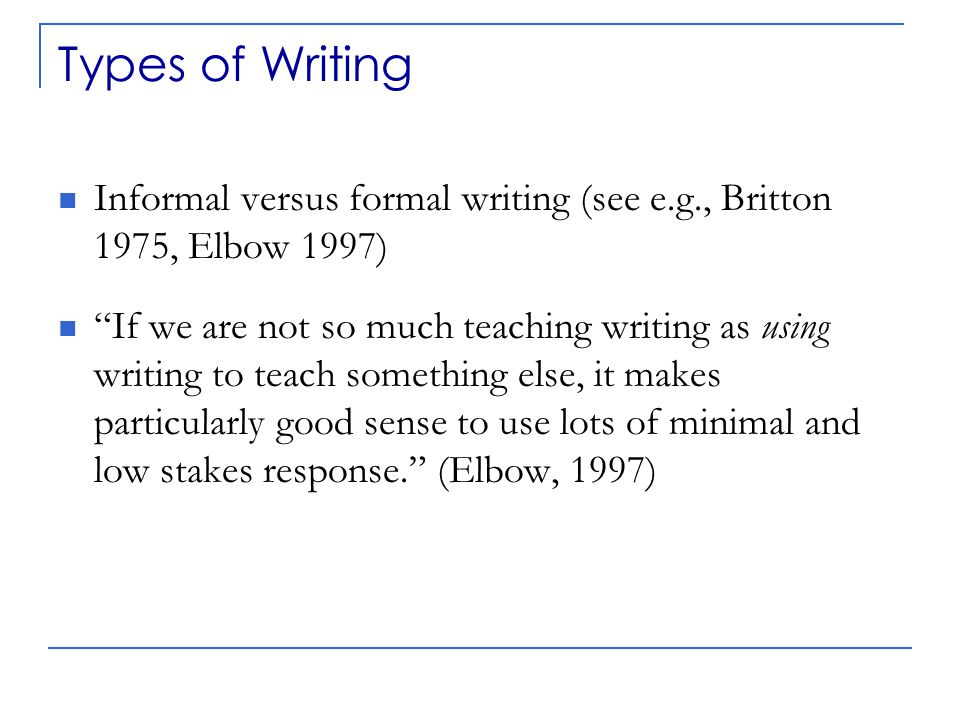 Examples for the Statistics Classroom Informal/low-stakes writing assignments  In-class, free-response writing in answer to a question (e.g., Why is the variability of the sample mean smaller than the variability of individual observations? )  Journal writing (e.g., responses to class reading, activities, homework problems, or experiences with statistics outside of class)  Minute papers at the end of class