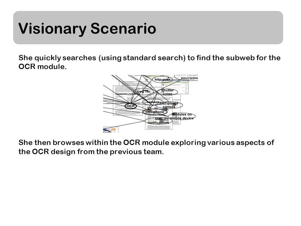 Visionary Scenario She quickly searches (using standard search) to find the subweb for the OCR module.