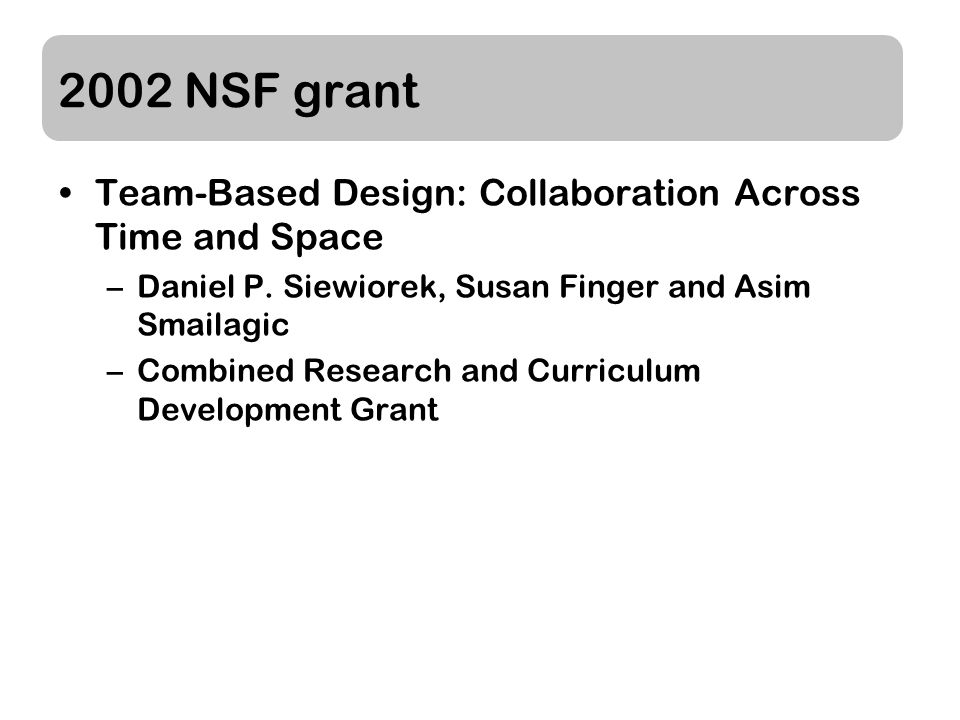2002 NSF grant Team-Based Design: Collaboration Across Time and Space –Daniel P.