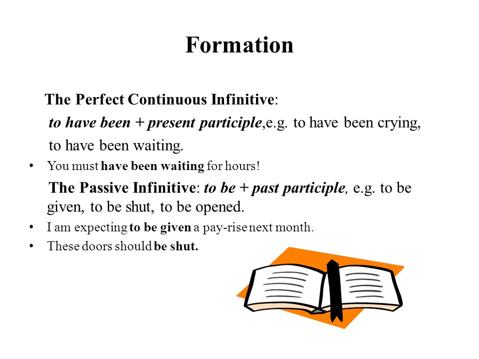 Formation The Perfect Continuous Infinitive: to have been + present participle,e.g. to have been crying, to have been waiting. You must have been wait