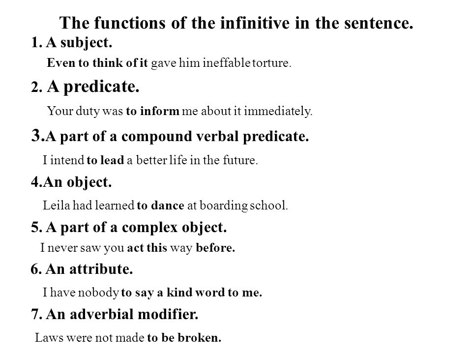 The functions of the infinitive in the sentence. 1. A subject. Even to think of it gave him ineffable torture. 2. A predicate. Your duty was to inform