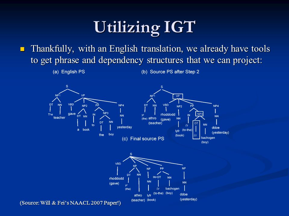 Utilizing IGT Thankfully, with an English translation, we already have tools to get phrase and dependency structures that we can project: Thankfully, with an English translation, we already have tools to get phrase and dependency structures that we can project: (Source: Will & Fei's NAACL 2007 Paper!)