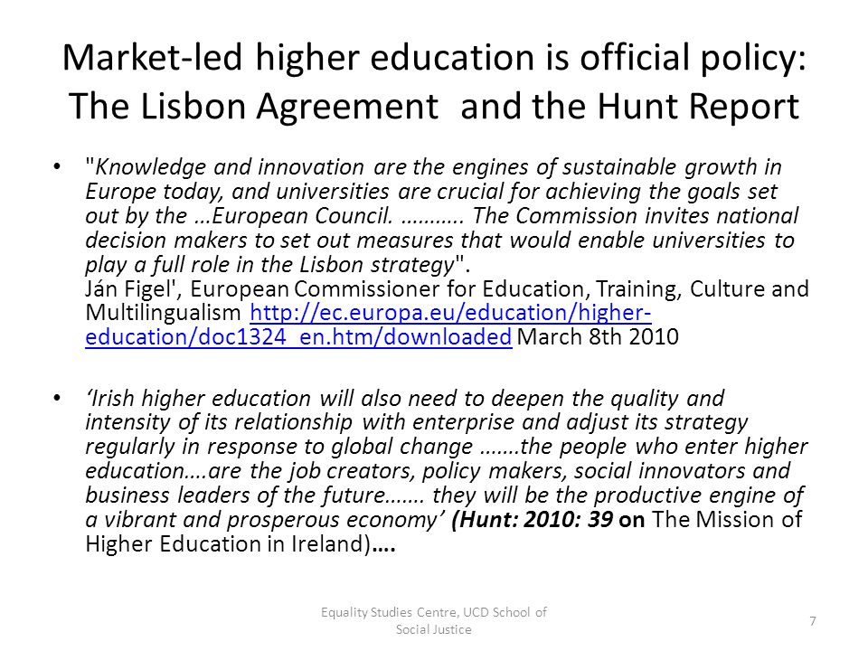 Market-led higher education is official policy: The Lisbon Agreement and the Hunt Report
