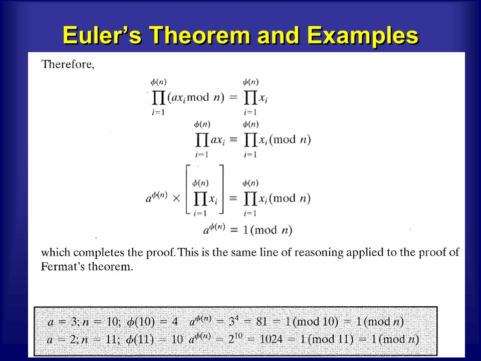 42 CS591/Crypto chow Euler's Theorem and Examples