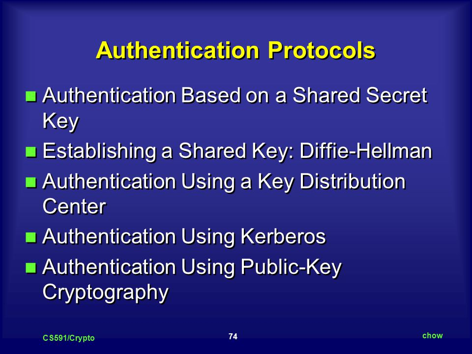 74 CS591/Crypto chow Authentication Protocols Authentication Based on a Shared Secret Key Establishing a Shared Key: Diffie-Hellman Authentication Using a Key Distribution Center Authentication Using Kerberos Authentication Using Public-Key Cryptography Authentication Based on a Shared Secret Key Establishing a Shared Key: Diffie-Hellman Authentication Using a Key Distribution Center Authentication Using Kerberos Authentication Using Public-Key Cryptography