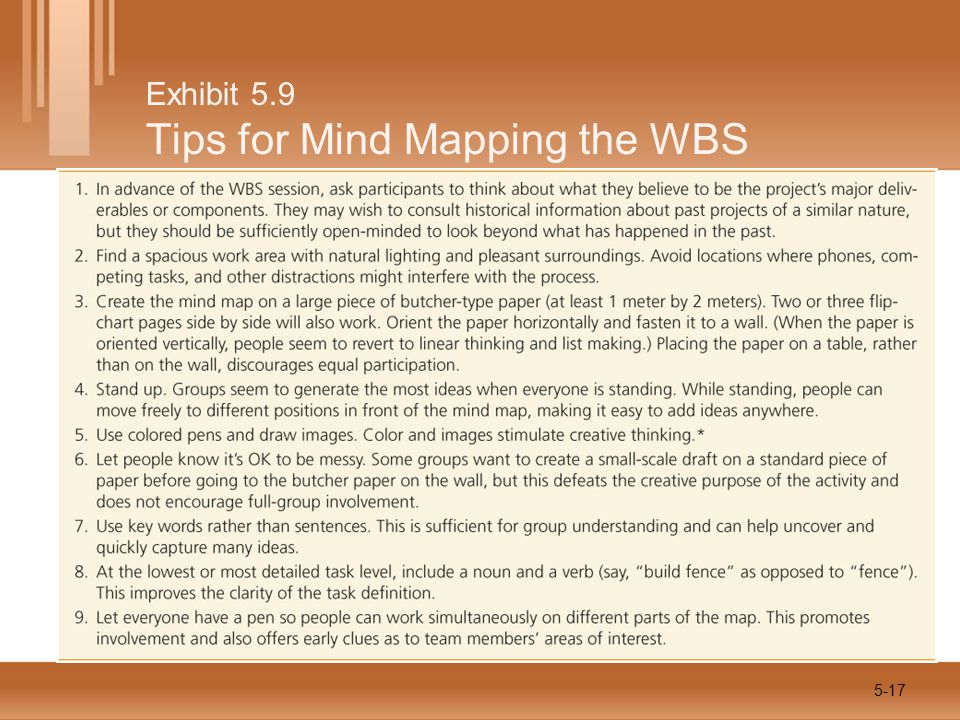 Exhibit 5.9 Tips for Mind Mapping the WBS 5-17