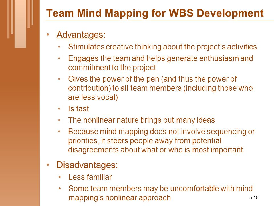 Team Mind Mapping for WBS Development Advantages: Stimulates creative thinking about the project's activities Engages the team and helps generate enthusiasm and commitment to the project Gives the power of the pen (and thus the power of contribution) to all team members (including those who are less vocal) Is fast The nonlinear nature brings out many ideas Because mind mapping does not involve sequencing or priorities, it steers people away from potential disagreements about what or who is most important Disadvantages: Less familiar Some team members may be uncomfortable with mind mapping's nonlinear approach 5-18