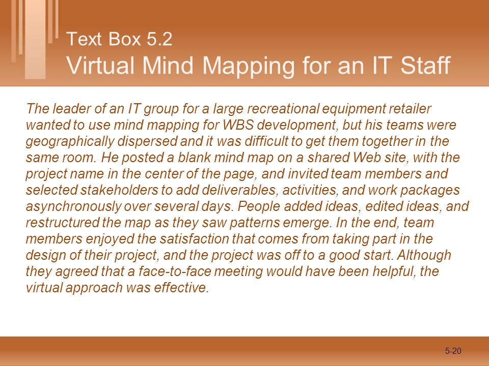 The leader of an IT group for a large recreational equipment retailer wanted to use mind mapping for WBS development, but his teams were geographically dispersed and it was difficult to get them together in the same room.