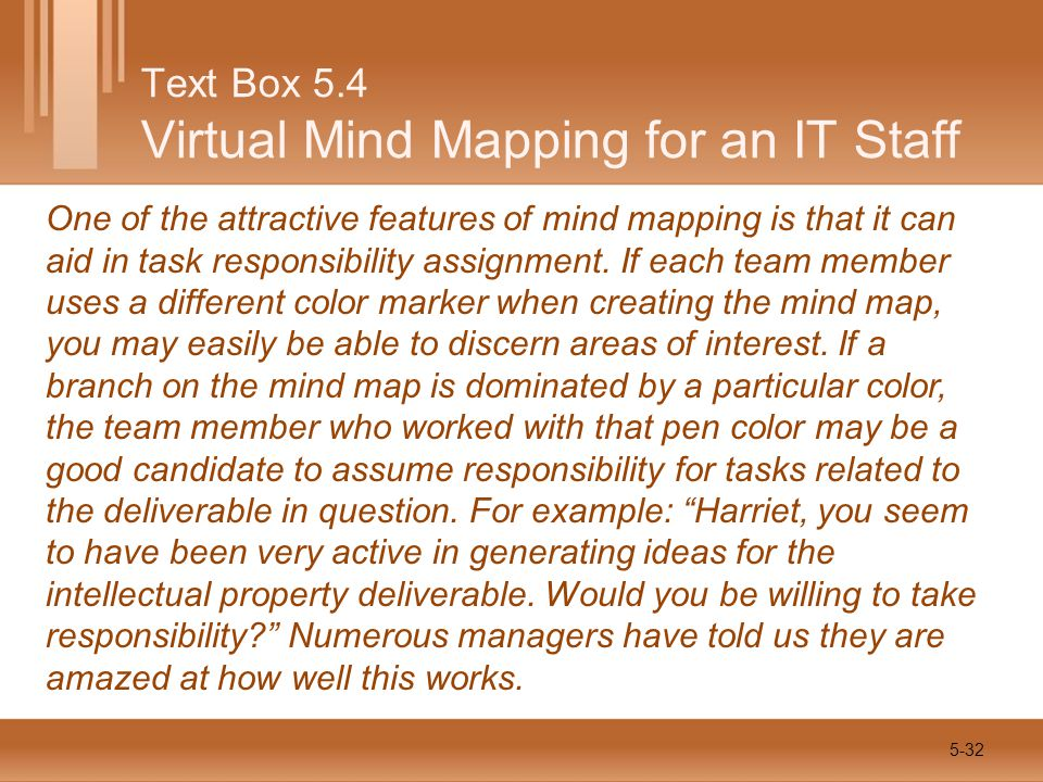 One of the attractive features of mind mapping is that it can aid in task responsibility assignment.