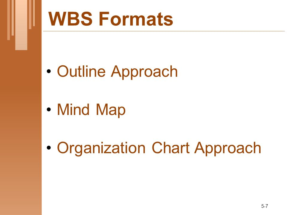 WBS Formats Outline Approach Mind Map Organization Chart Approach 5-7