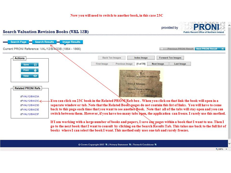 You can click on 23C book in the Related PRONI Refs box. When you click on that link the book will open in a separate window or tab. Note that the Rel