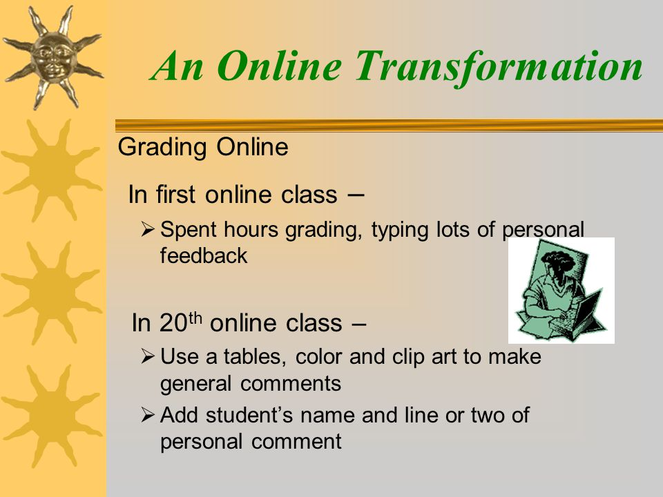 An Online Transformation In first online class –  Spent hours grading, typing lots of personal feedback In 20 th online class –  Use a tables, color and clip art to make general comments  Add student's name and line or two of personal comment Grading Online