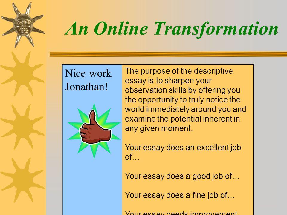 An Online Transformation Nice work Jonathan.