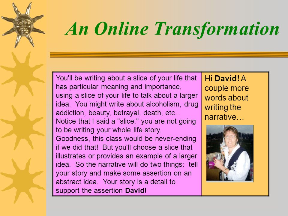 An Online Transformation You ll be writing about a slice of your life that has particular meaning and importance, using a slice of your life to talk about a larger idea.