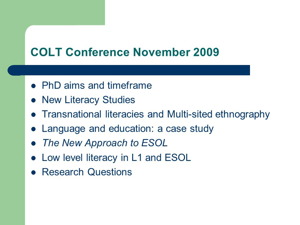 The New Approach to ESOL We agree that a national list of priority groups would not be helpful.