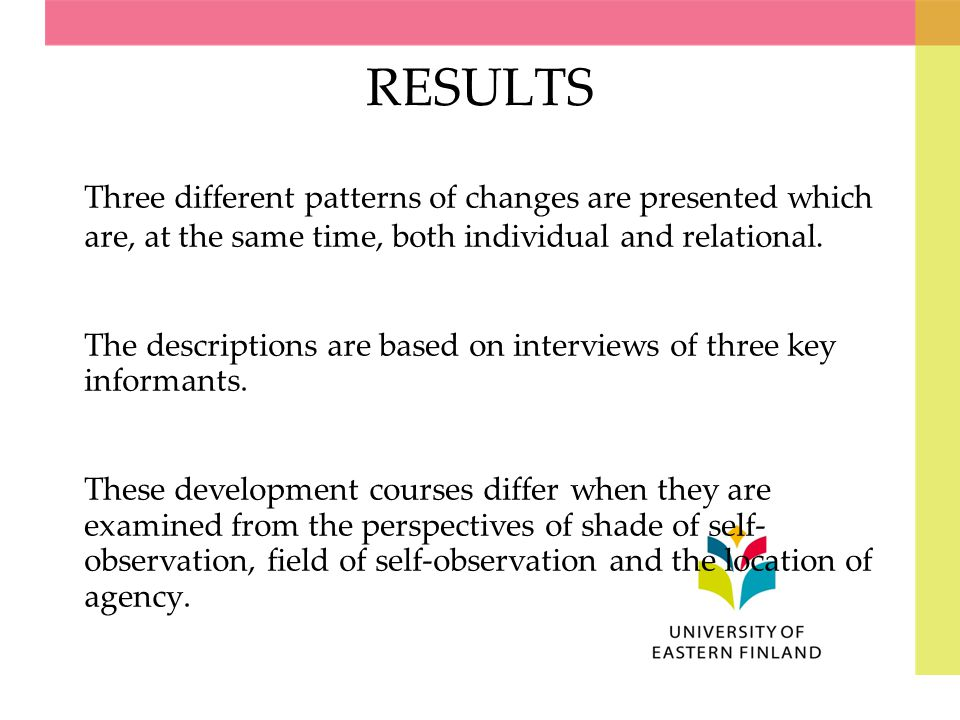 RESULTS Three different patterns of changes are presented which are, at the same time, both individual and relational. The descriptions are based on i