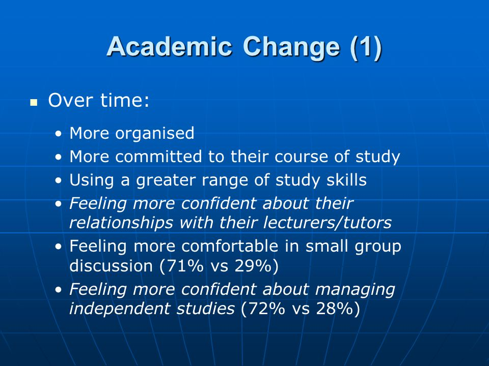 Academic Change (1) Over time: More organised More committed to their course of study Using a greater range of study skills Feeling more confident abo