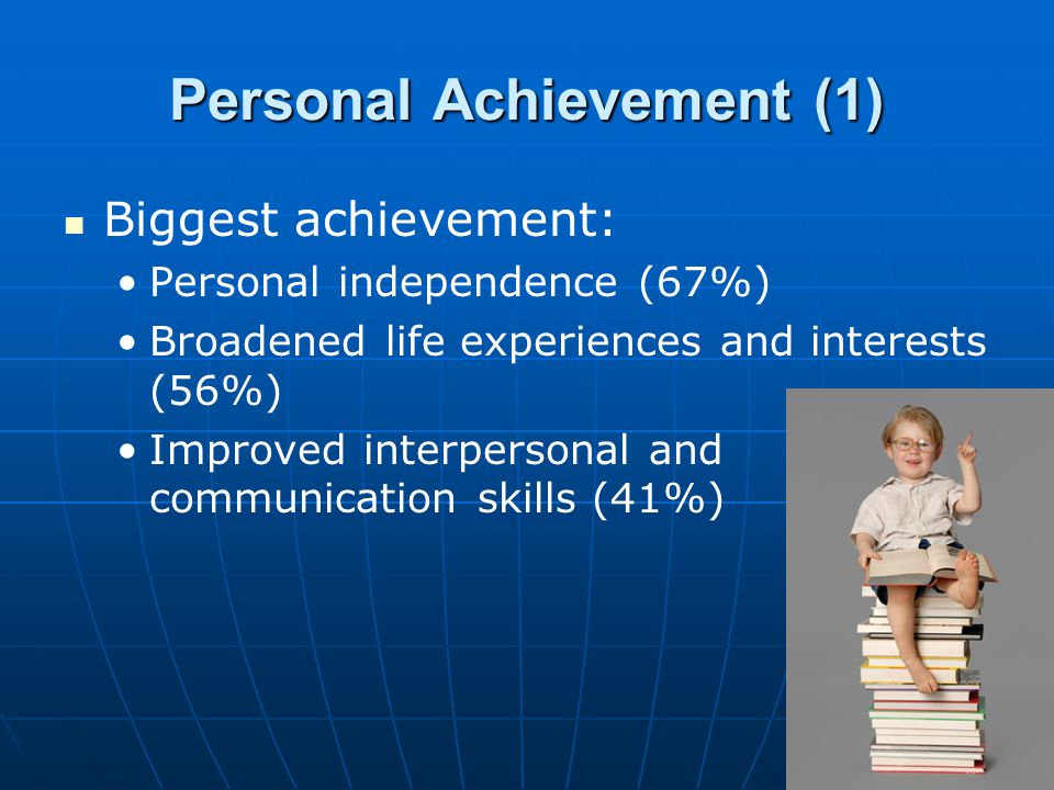 Personal Achievement (1) Biggest achievement: Personal independence (67%) Broadened life experiences and interests (56%) Improved interpersonal and co