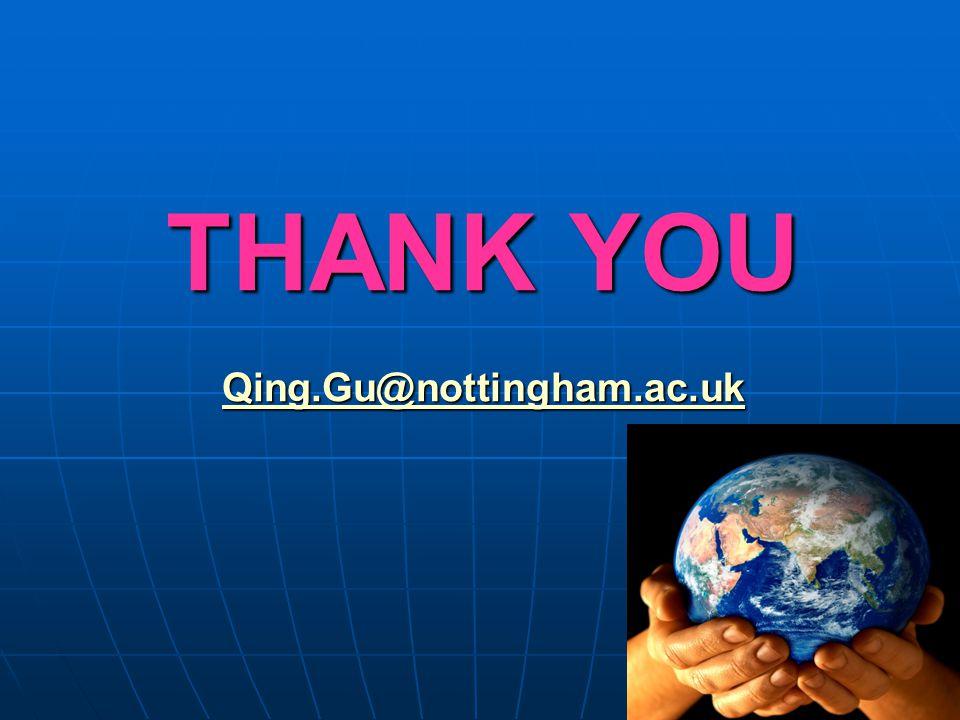 THANK YOU Qing.Gu@nottingham.ac.uk Qing.Gu@nottingham.ac.uk