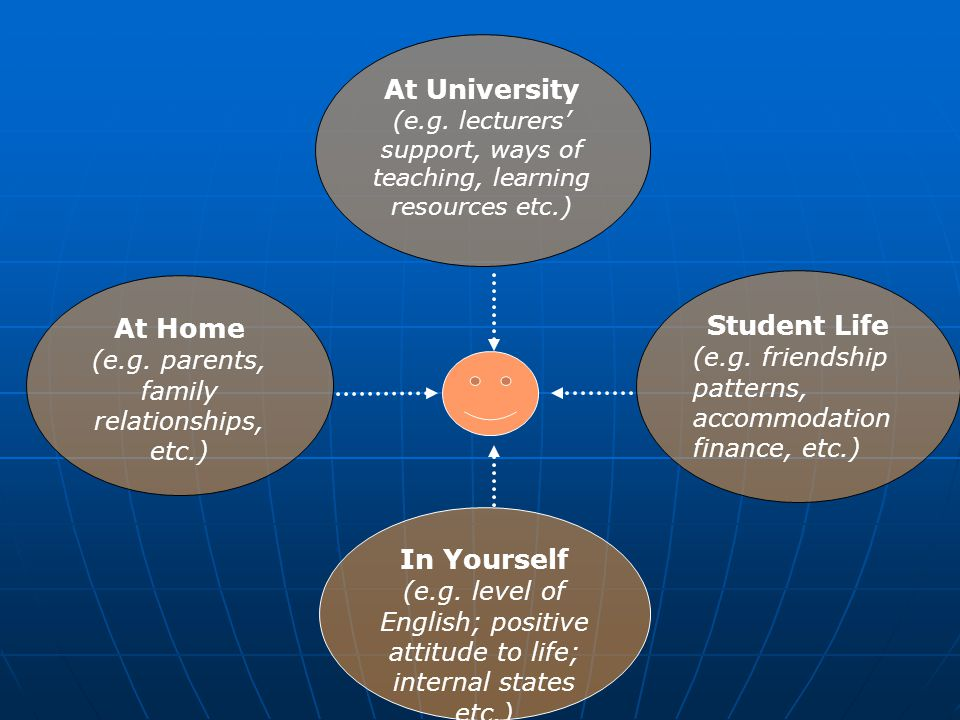 At Home (e.g. parents, family relationships, etc.) Student Life (e.g. friendship patterns, accommodation finance, etc.) In Yourself (e.g. level of Eng