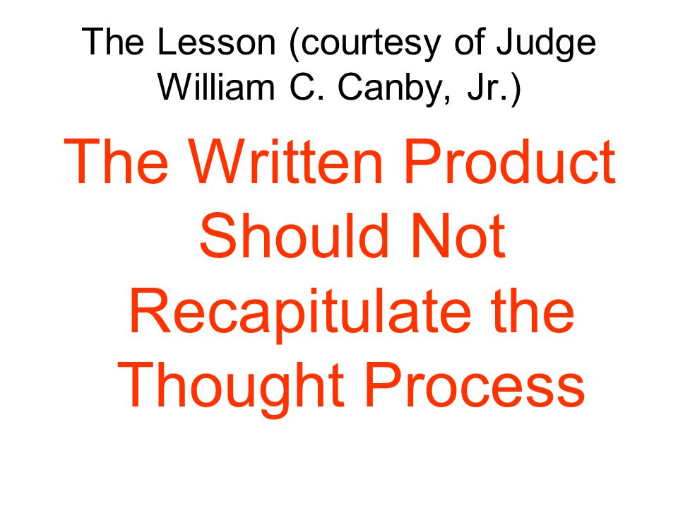 The Lesson (courtesy of Judge William C.