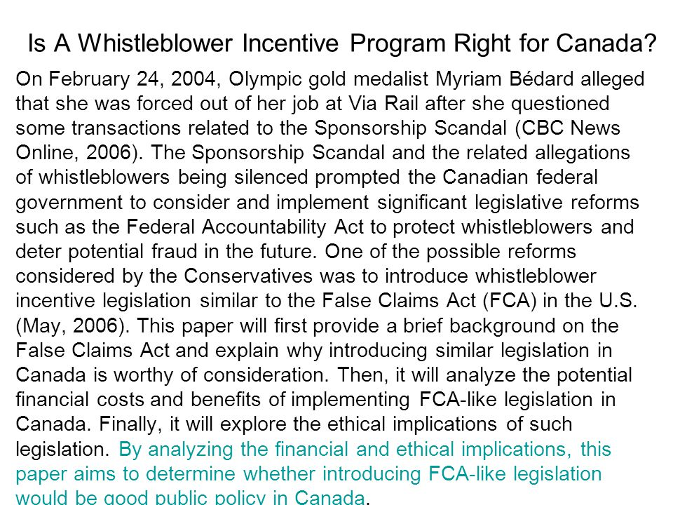 Is A Whistleblower Incentive Program Right for Canada.
