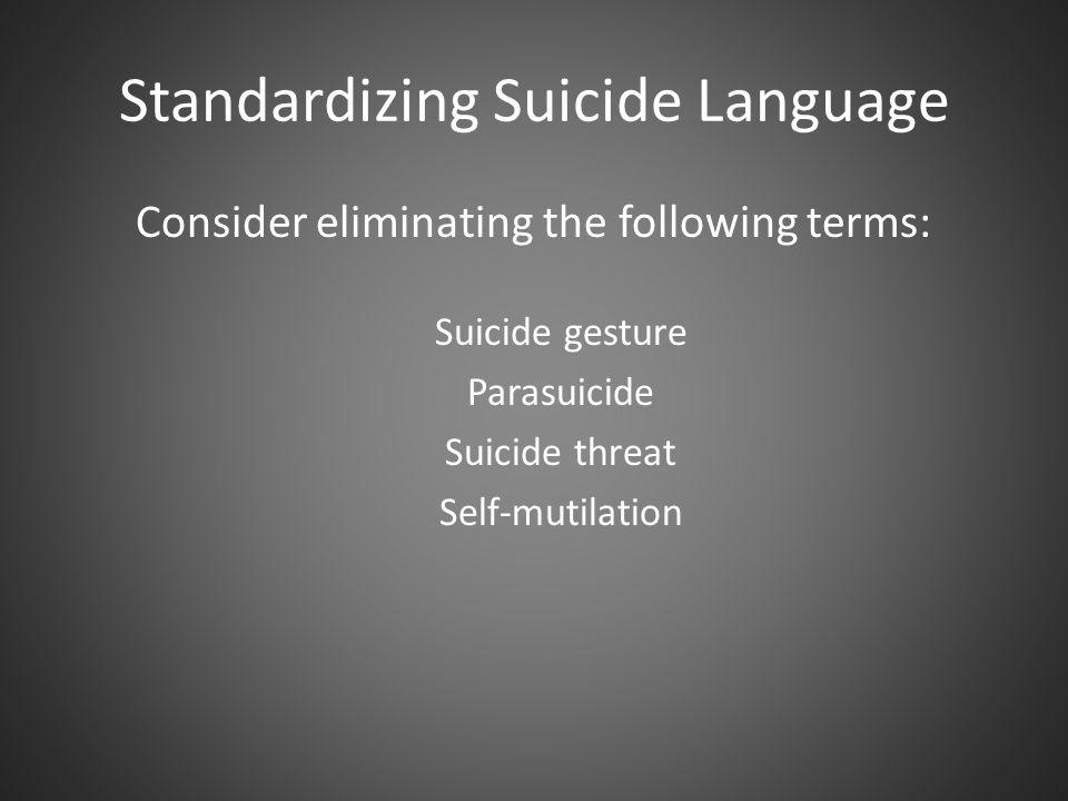 Standardizing Suicide Language Consider eliminating the following terms: Suicide gesture Parasuicide Suicide threat Self-mutilation