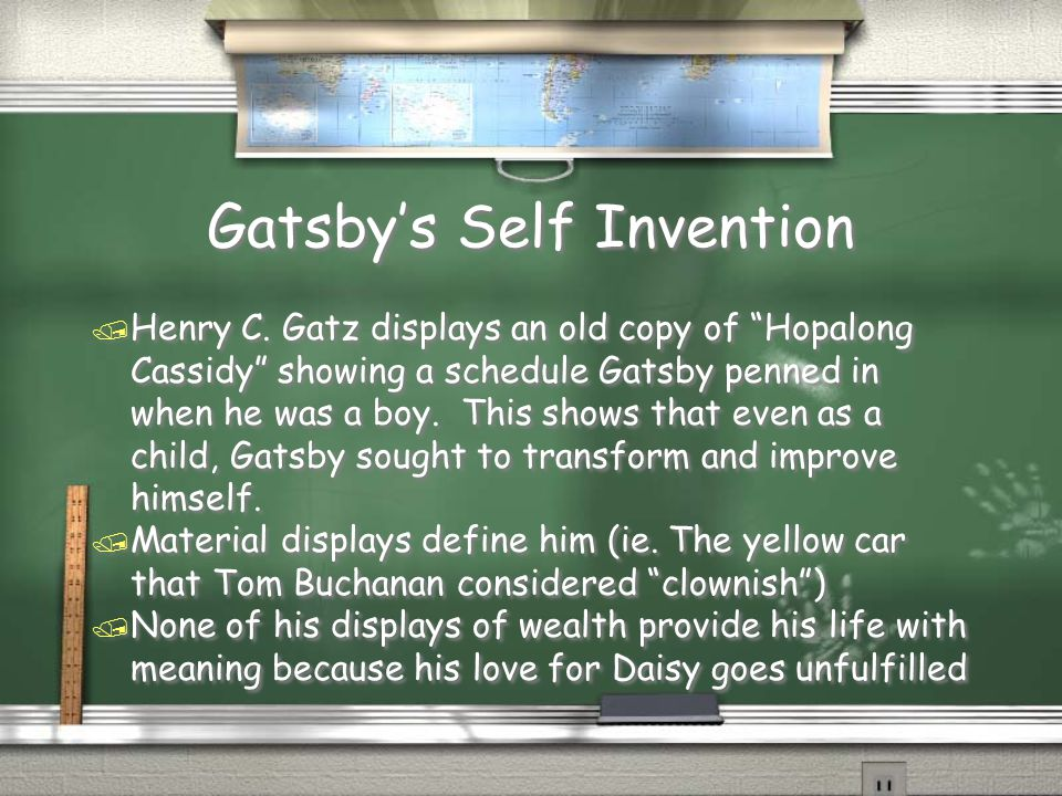 """Gatsby's Self Invention / Henry C. Gatz displays an old copy of """"Hopalong Cassidy"""" showing a schedule Gatsby penned in when he was a boy. This shows t"""