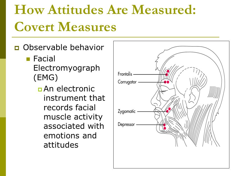 How Attitudes Are Measured: Covert Measures  Observable behavior Facial Electromyograph (EMG)  An electronic instrument that records facial muscle activity associated with emotions and attitudes