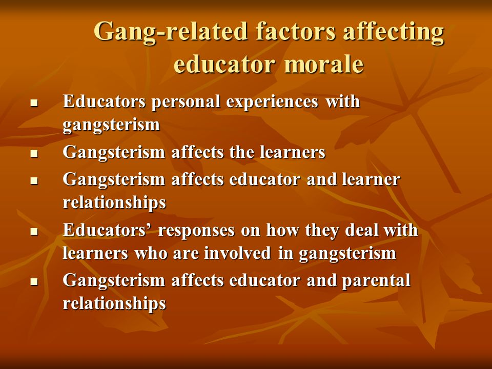 Gang-related factors affecting educator morale Educators personal experiences with gangsterism Educators personal experiences with gangsterism Gangsterism affects the learners Gangsterism affects the learners Gangsterism affects educator and learner relationships Gangsterism affects educator and learner relationships Educators' responses on how they deal with learners who are involved in gangsterism Educators' responses on how they deal with learners who are involved in gangsterism Gangsterism affects educator and parental relationships Gangsterism affects educator and parental relationships