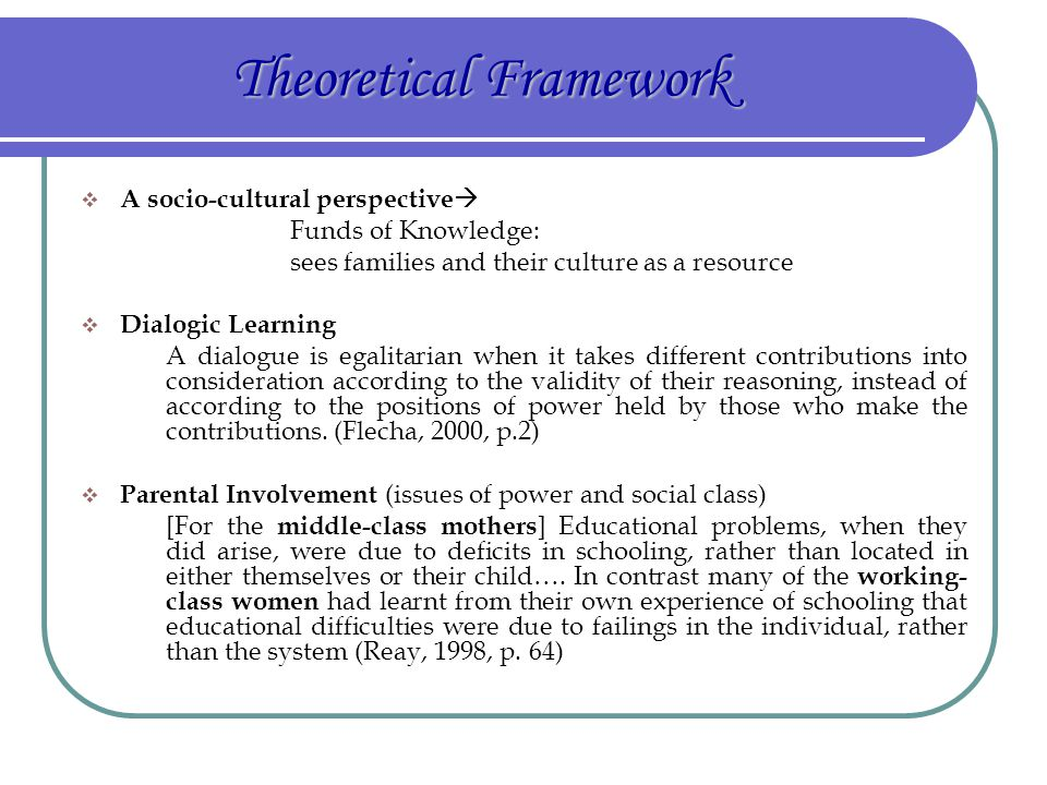 Theoretical Framework  A socio-cultural perspective  Funds of Knowledge: sees families and their culture as a resource  Dialogic Learning A dialogu