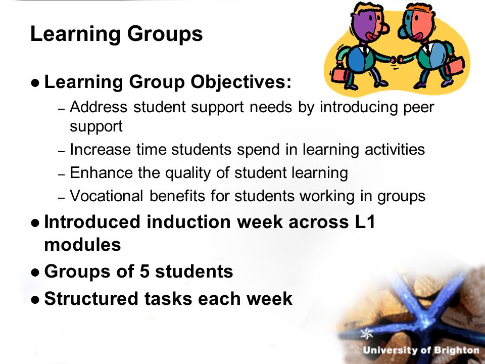 Learning Groups Learning Group Objectives: – Address student support needs by introducing peer support – Increase time students spend in learning activities – Enhance the quality of student learning – Vocational benefits for students working in groups Introduced induction week across L1 modules Groups of 5 students Structured tasks each week