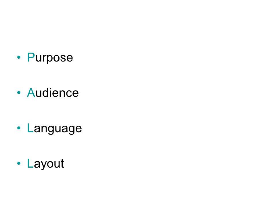 Purpose Audience Language Layout