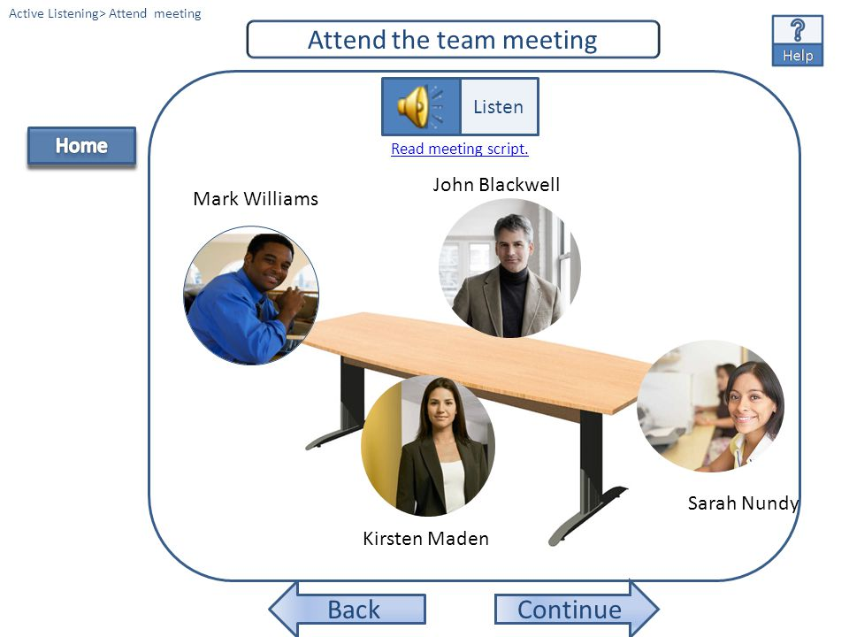 Continue Listen to the team member profiles. Active Listening> Listen to profiles Mark Williams Kirsten Maden Sarah NundyJohn Blackwell Listen Read Pr