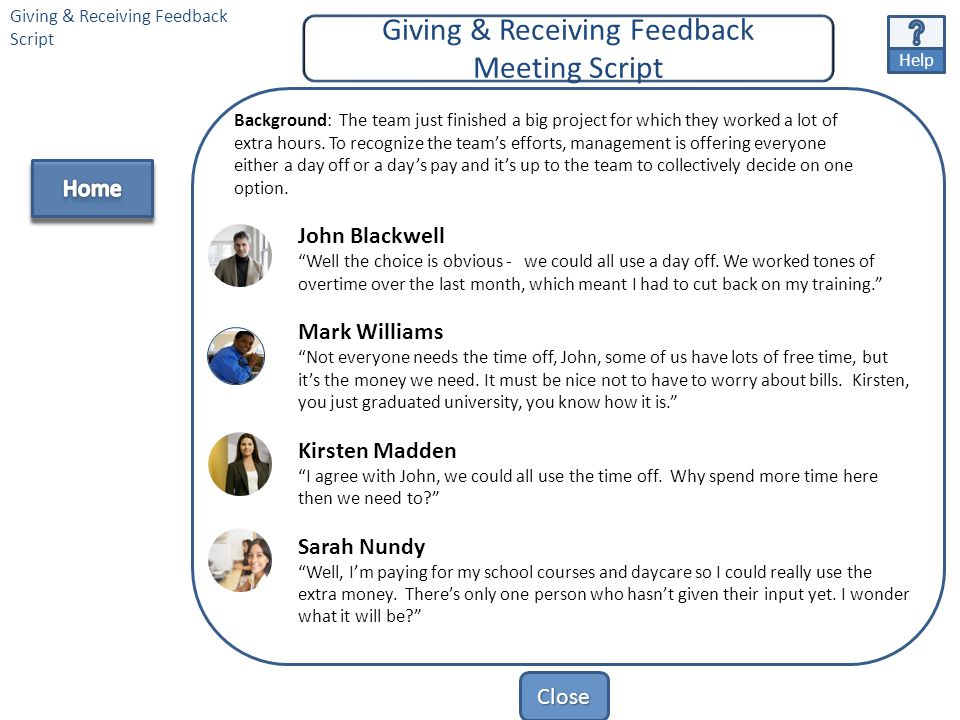 """Close Team Profiles Text Giving & Receiving Feedback> Team Profiles Script John Blackwell """"My name is John Blackwell and I'm recently divorced, which"""