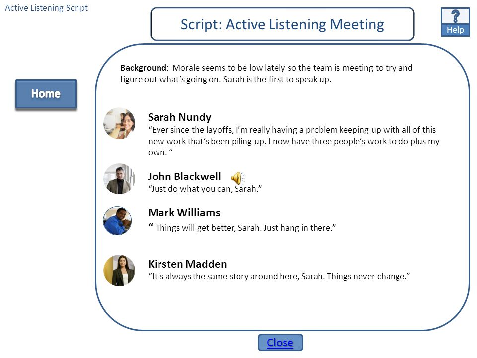 """Help Close Giving & Receiving Feedback Meeting Script Giving & Receiving Feedback Script John Blackwell """"Well the choice is obvious - we could all use"""