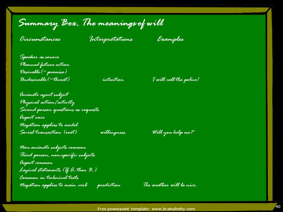 Free powerpoint template: www.brainybetty.com 41 Shall There is a general element of 'determination' on the speaker's part in the first person.