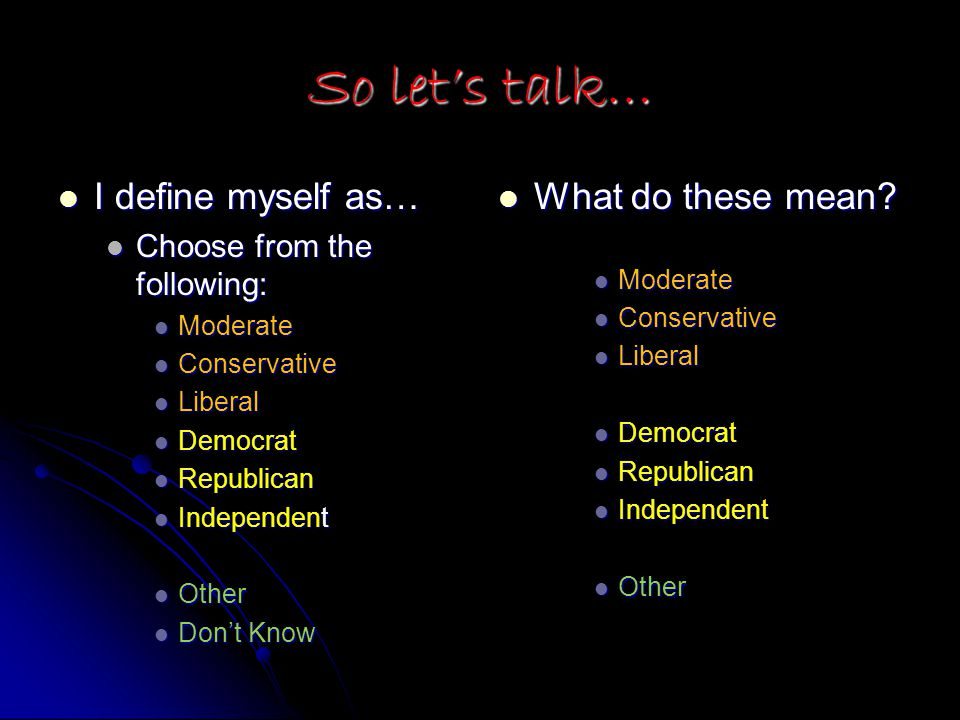 So let's talk… I define myself as… I define myself as… Choose from the following: Choose from the following: Moderate Moderate Conservative Conservative Liberal Liberal Democrat Democrat Republican Republican Independent Independent Other Other Don't Know Don't Know What do these mean.