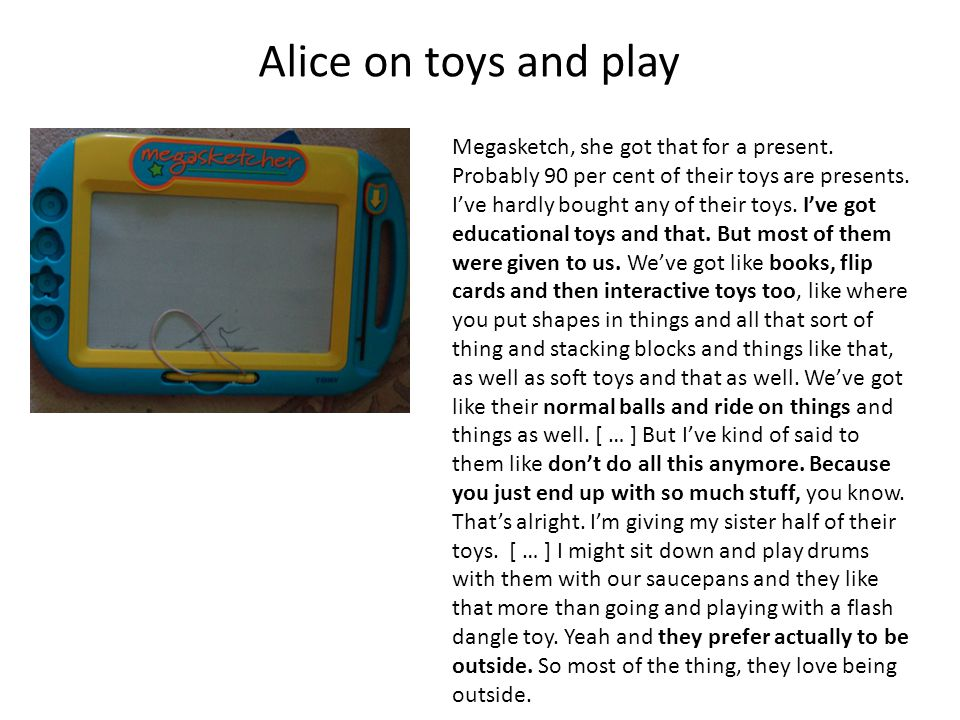 Alice on toys and play Megasketch, she got that for a present.
