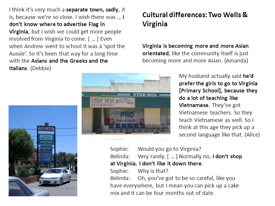 Cultural differences: Two Wells & Virginia Sophie:Would you go to Virginia.
