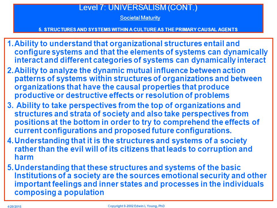 4/29/2015 Copyright 9-2002 Edwin L Young, PhD Level 7: UNIVERSALISM (CONT.) Societal Maturity 5.