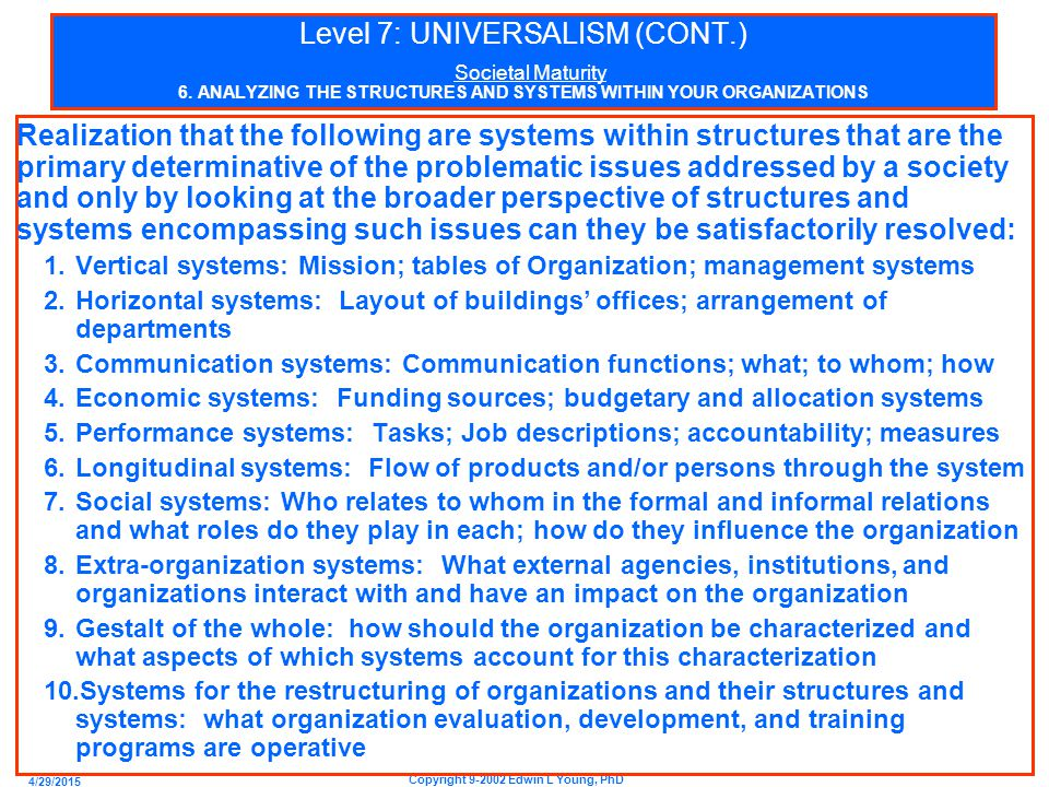 4/29/2015 Copyright 9-2002 Edwin L Young, PhD Level 7: UNIVERSALISM (CONT.) Societal Maturity 6.