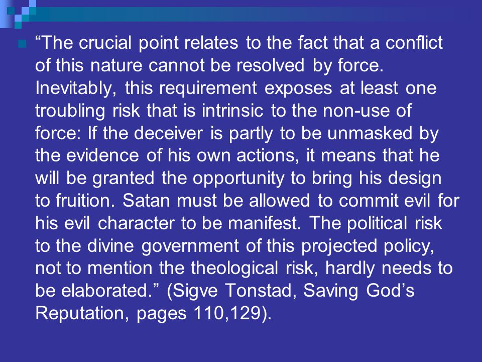 The crucial point relates to the fact that a conflict of this nature cannot be resolved by force.