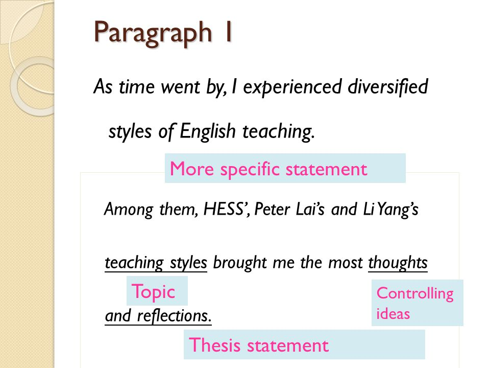 Paragraph 1 As time went by, I experienced diversified styles of English teaching.